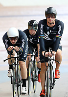 Dylan Kennett (L) and Pieter Bulling during training, Avantidrome, Home of Cycling, Cambridge, New Zealand, Friday, March 17, 2017. Mandatory Credit: © Dianne Manson/CyclingNZ  **NO ARCHIVING**