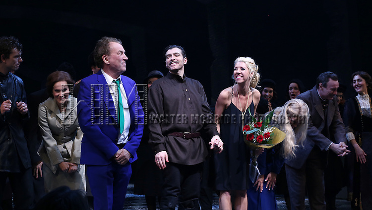 Des McAnuff, Tam Mutu, Kelly Devine and cast during the Broadway Opening Night Performance Curtain Call for 'Doctor Zhivago' at The Broadway Theatre on April 21, 2015 in New York City.