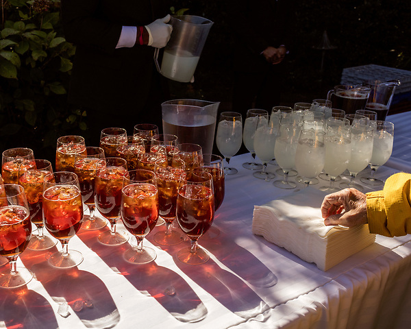 October 26, 2017. Raleigh, North Carolina.<br /> <br /> Garden dedication attendees had drinks and snacks before the speakers took to the podium. <br /> <br /> A new garden designed by Ben Skelton containing native Plants For Birds was dedicated at the North Carolina Executive Mansion.