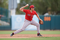 Boston Red Sox Triston Casas (19) throws to second base during a Florida Instructional League game against the Baltimore Orioles on October 8, 2018 at the Ed Smith Stadium in Sarasota, Florida.  (Mike Janes/Four Seam Images)