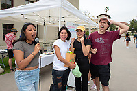 First place winners Bean Babes<br /> Six student teams battle to win the Iron Chef competition as part of Earth Month on Thursday, April 11, 2019 in the JSC Quad. Event MC, Amos Himmelstein, provided play-by-play of the action. Their task was to create the best vegetarian or vegan starter and sauté dishes. A wide variety of fresh organic produce (some freshly picked at the FEAST garden), FEAST eggs, spices, oils AND one secret ingredient were at the team's disposal.<br /> Chef Brad Kent, owner of Olio GCM Wood Fired Pizzeria at Grand Central Market and co-Founder/chief culinary officer for Blaze Pizza, is this year's guest judge.<br /> The contest is led by FEAST and supported by Campus Dining, Facilities Management, RESF, and the Office of the President.<br /> (Photo by Marc Campos, Occidental College Photographer)