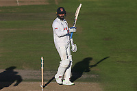 Murali Vijay of Essex raises his bat to celebrate reaching his fifty during Nottinghamshire CCC vs Essex CCC, Specsavers County Championship Division 1 Cricket at Trent Bridge on 12th September 2018