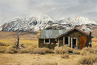 Old Abandoned House and Snow Capped Mountains in the Background
