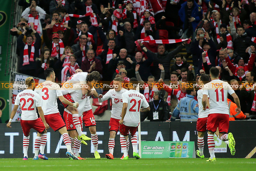 Southampton players congratulate Manolo Gabbiadini after scoring their second goal during Manchester United vs Southampton, EFL Cup Final Football at Wembley Stadium on 26th February 2017