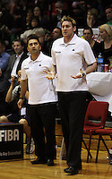 Tall Blacks assistant coaches Chris Tupu and Dillon Boucher during the International basketball match between the NZ Tall Blacks and Australian Boomers at TSB Bank Arena, Wellington, New Zealand on 25 August 2009. Photo: Dave Lintott / lintottphoto.co.nz