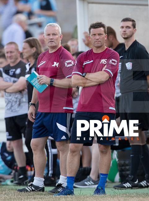 Chesham Manager Jon Meakes & coach Mark Swales during the 2018/19 Pre Season Friendly match between Chesham United and Wycombe Wanderers at the Meadow , Chesham, England on 24 July 2018. Photo by Andy Rowland.