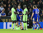 Leicester's Robert Huth protests his innocence after a clash with Manchester City's Nicolas Otamendi<br /> <br /> Barclays Premier League- Leicester City vs Manchester City - King Power Stadium - England - 29th December 2015 - Picture - David Klein/Sportimage
