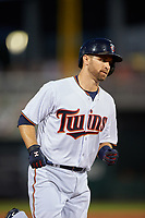 Minnesota Twins second baseman Brian Dozier (2) running the bases after hitting a home run during a Spring Training game against the Boston Red Sox on March 16, 2016 at Hammond Stadium in Fort Myers, Florida.  Minnesota defeated Boston 9-4.  (Mike Janes/Four Seam Images)