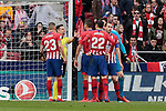 Atletico de Madrid's players have words with the referee during La Liga match between Atletico de Madrid and Real Madrid at Wanda Metropolitano Stadium in Madrid, Spain. February 09, 2019. (ALTERPHOTOS/A. Perez Meca)