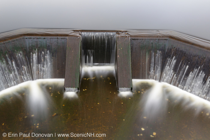 Dam at Airport Marsh near Mt Washington Regional Airport in Whitefield, New Hampshire USA during foggy conditions