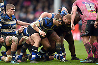 Victor Delmas of Bath Rugby prepares to scrummage against his opposite number. Anglo-Welsh Cup Final, between Bath Rugby and Exeter Chiefs on March 30, 2018 at Kingsholm Stadium in Gloucester, England. Photo by: Patrick Khachfe / Onside Images