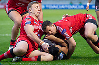 Picture by Allan McKenzie/SWpix.com - 26/04/2018 - Rugby League - Betfred Super League - Salford Red Devils v St Helens - AJ Bell Stadium, Salford, England - St Helens's Zeb Taia is tackled by Salford's Craig Kopczak & Jack Littlejohn.