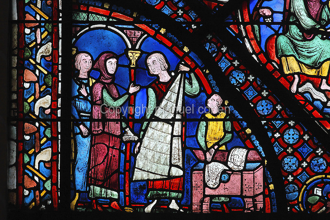 A wealthy customer with his servant is shown a length of ermine fur, while an assistant finds other examples in a trunk. Donor window of the furriers, 1210-25, from the Life of St James window in the ambulatory of Chartres Cathedral, Eure-et-Loir, France. This window tells the story of the life of St James the Greater, apostle of Jesus and son of Zebedee. It is situated next to the apostles chapel. Chartres is a stop on the pilgrimage route to Compostela, where James' relics lie. Chartres cathedral was built 1194-1250 and is a fine example of Gothic architecture. Most of its windows date from 1205-40 although a few earlier 12th century examples are also intact. It was declared a UNESCO World Heritage Site in 1979. Picture by Manuel Cohen