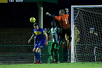 Rhys Hughes of Romford punches clear during Romford vs Basildon United, Bostik League Division 1 North Football at Rookery Hill on 24th November 2018