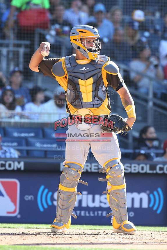 Gary Sanchez of the World Team in the field at catcher during a game against the USA Team during The Futures Game at Petco Park on July 10, 2016 in San Diego, California. World Team defeated USA Team, 11-3. (Larry Goren/Four Seam Images)