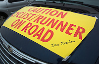 26 SEP 2013 - LANDS END, GBR - Dave Kershaw's  support vehicle stands waiting for the start of the Enduroman 2013 Lands End to London to Dover ultra triathlon at Lands End, Sennen, Cornwall, Great Britain (PHOTO COPYRIGHT © 2013 NIGEL FARROW, ALL RIGHTS RESERVED)