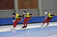 SCHAATSEN: SALT LAKE CITY: Utah Olympic Oval, 12-11-2013, Essent ISU World Cup, training, Maarten Swings (BEL), Ferre Spruyt (BEL), Wannes van Praet (BEL), ©foto Martin de Jong