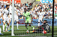 Kelechi Iheanacho of Manchester City scores a goal to make the score 0-1 during the Barclays Premier League match between Swansea City and Manchester City played at The Liberty Stadium, Swansea on 15th May 2016