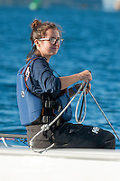 Salve's Stephanie Clancy,'17, captain, sails during practice in the Newport Harbor.