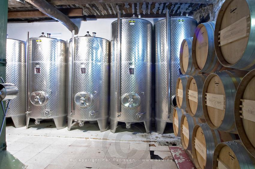 Barrels of wine aging in the cellar stainless steel fermentation tanks Chateau Vannieres (Vannières) La Cadiere (Cadière) d'Azur Bandol Var Cote d'Azur France