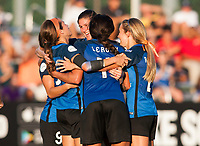 Kansas City, MO - Sunday July 02, 2017: Shea Groom celebrates scoring during a regular season National Women's Soccer League (NWSL) match between FC Kansas City and the Houston Dash at Children's Mercy Victory Field.