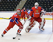Stanislav Kalashnikov (Russia - 4), Igor Bobkov (Russia - 29) - Russia defeated Finland 4-0 at the Urban Plains Center in Fargo, North Dakota, on Friday, April 17, 2009, in their semi-final match during the 2009 World Under 18 Championship.