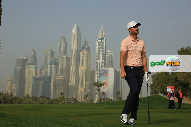 Lucas Bjerregaard (DEN) in action on the 13th hole during the second round of the Omega Dubai Desert Classic, Emirates Golf Club, Dubai, UAE. 25/01/2019<br /> Picture: Golffile   Phil Inglis<br /> <br /> <br /> All photo usage must carry mandatory copyright credit (© Golffile   Phil Inglis)