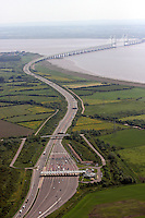 Aerial view of the Second M4 motorway Severn Crossing and the tolls