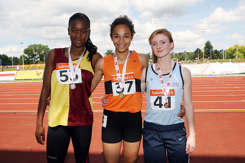 Photo: Rich Eaton/Sportsbeat Images.....Sainsbury's English Schools Track and Field Championships, Birmingham. 14/07/2007. Junior girls 100m winners l-r silver Mariliyn Nwawulor of Middlesex, gold Jodie Williams of Herts and Helen Rennardson of Kent.