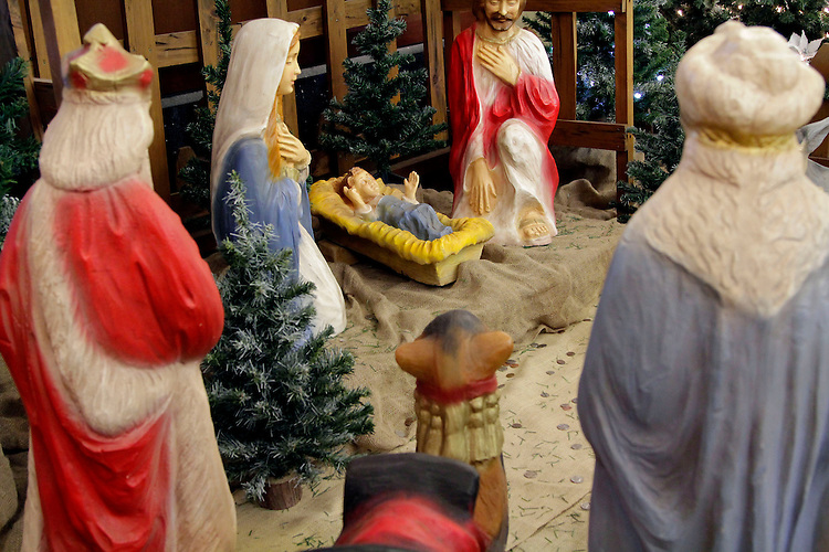 A Christmas nativity scene inside the DePaul Center, Loop Campus on Monday, Dec. 16, 2013.  (Photo by Jonathan Cecero)