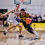 23 January 2019: UMBC Retriever Guard K.J. Jackson, a Junior from Houston, Texas, in second half action against the University of Vermont Catamounts at Patrick Gymnasium in Burlington, Vermont. The Retrievers handed the Catamounts their first America East loss of the season 74-61. Mandatory Credit: Ed Wolfstein Photo *** RAW (NEF) Image File Available ***