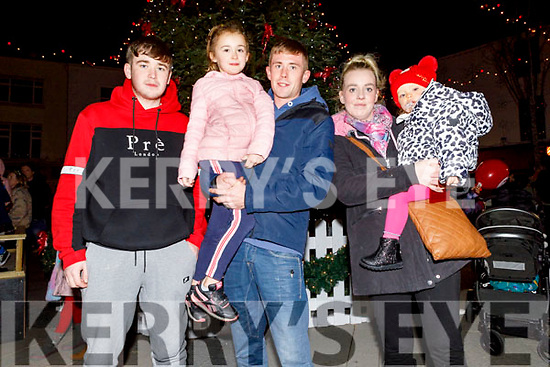 Aaron McCarthy, Miah Shanahan, James O'Sullivan, Linzie Buckley and Naomi O'Sullivan from Moyvane at the turning on of the Christmas Tree lights on Saturday.