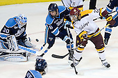 Dan Sullivan (Maine - 30), Brice O'Connor (Maine - 16), J.T. Brown (Duluth - 23) - The University of Minnesota Duluth Bulldogs defeated the University of Maine Black Bears 5-2 in their NCAA Northeast semifinal on Saturday, March 24, 2012, at the DCU Center in Worcester, Massachusetts.