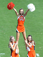 Cheerleaders perform Ball State defeated Virginia 48-27 during an NCAA football game Saturday Oct. 5, 2013 at Scott Stadium in Charlottesville, VA. Photo/Andrew Shurtleff