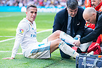 Real Madrid Lucas Vazquez injured during La Liga match between Real Madrid and Atletico de Madrid at Santiago Bernabeu Stadium in Madrid, Spain. April 08, 2018. (ALTERPHOTOS/Borja B.Hojas) /NortePhoto NORTEPHOTOMEXICO
