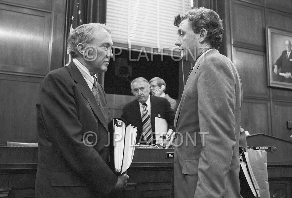 WASHINGTON DC 1973 - John Doar, Special Counsel to the House Judiciary Committee speaks with James Mann (D-South Carolina)  during Watergate Hearings - A break in at the Democratic National Committee headquarters at the Watergate complex on June 17, 1972 results in one of the biggest political scandals the US government has ever seen.  Effects of the scandal ultimately led to the resignation of  President Richard Nixon, on August 9, 1974, the first and only resignation of any U.S. President.