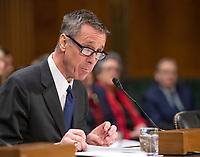 """Arne M. Sorenson, President and Chief Executive Officer, Marriott International, Inc. testifies before the United States Senate Committee on Homeland Security and Governmental Affairs Permanent Subcommittee on Investigations during a hearing on """"Examining Private Sector Data Breaches"""" on Capitol Hill in Washington, DC on Thursday, March 7, 2019.<br /> Credit: Ron Sachs / CNP/AdMedia"""