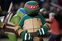 Teenage Mutant Ninja Turtle Raphael during an on field performance after a Buffalo Bisons game against the Gwinnett Braves on August 19, 2017 at Coca-Cola Field in Buffalo, New York.  The Bisons wore special Superhero jerseys for Superhero Night.  Gwinnett defeated Buffalo 1-0.  (Mike Janes/Four Seam Images)