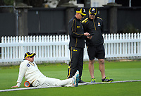 Michael Papps, coach Bruce Edgar and assistant coach Glenn Pocknall. Wellington Firebirds practice match at the Basin Reserve in Wellington, New Zealand on Tuesday, 10 October 2017. Photo: Dave Lintott / lintottphoto.co.nz