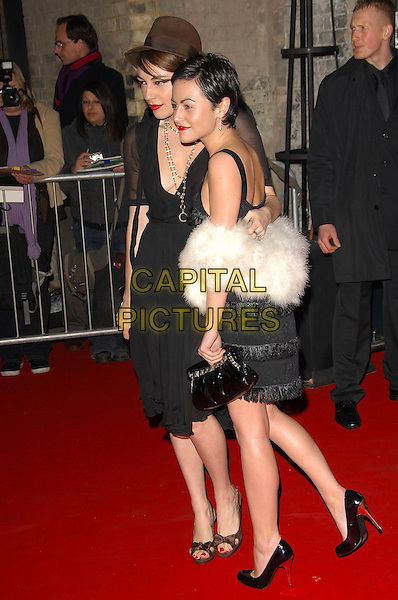 LOIS WINSTONE & JAIME WINSTONE.The British Independent Film Awards, The Roundhouse, London, England..November 28th, 2007.full length black dress white fur clutch bag purse hat brown sheer sisters siblings family tassels flapper jamie profile .CAP/CAS.©Bob Cass/Capital Pictures
