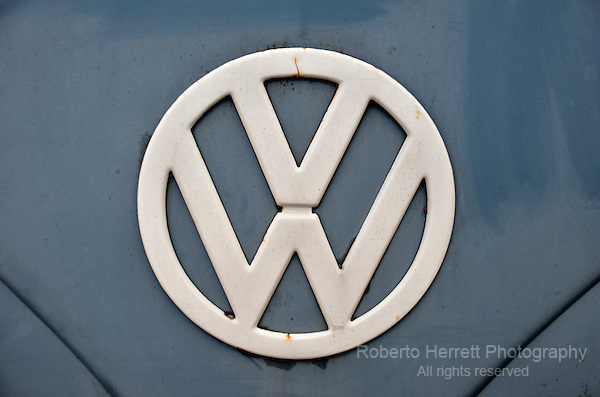 Old Volkswagen logo symbol on a van