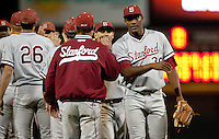 STOCKTON, CA - May 9, 2011: The Stanford baseball team shakes hands after Stanford's game against Pacific at Klein Family Field in Stockton. Stanford won 11-5.