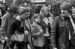 Blair Peach funeral. Southall west London 1979. Celia Stubbs common law wife of Blair Peach at funeral and daughter Rebecca.
