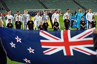 The All Whites line up for the national anthems before the first leg of FIFA World Cup Russia 2018 qualifying football match between the New Zealand All Whites and Solomon Islands at QBE Stadium in Albany, New Zealand on Friday, 1 September 2017. Photo: Dave Lintott / lintottphoto.co.nz
