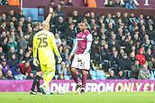 12th September 2017, Villa Park, Birmingham, England; EFL Championship football, Aston Villa versus Middlesbrough; Jonathan Kodjia of Aston Villa gets a yellow card for diving