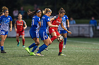 Boston, MA - Sunday September 10, 2017: Margaret Purce, Megan Oyster, Nadia Nadim during a regular season National Women's Soccer League (NWSL) match between the Boston Breakers and Portland Thorns FC at Jordan Field.