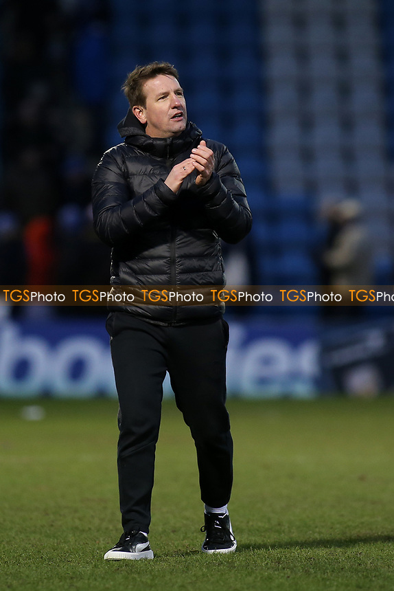 Barnsley Manager, Daniel Stendel, applauds the away fans at the final whistle during Gillingham vs Barnsley, Sky Bet EFL League 1 Football at The Medway Priestfield Stadium on 9th February 2019
