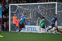 Paddy Madden (Scunthorpe) opens the scoring<br />  - Scunthorpe United vs Worcester City - FA Challenge Cup 2nd Round Football at Glanford Park, Scunthorpe - 07/12/14 - MANDATORY CREDIT: Mark Hodsman/TGSPHOTO - Self billing applies where appropriate - contact@tgsphoto.co.uk - NO UNPAID USE