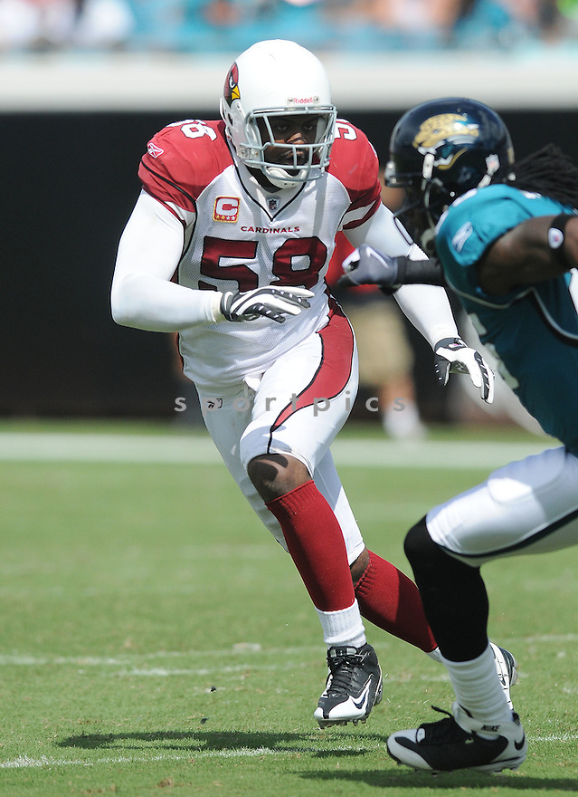 KARLOS DANSBY,of the Arizona Cardinals , in action during the Cardinals game against the Jacksonville Jaguars on September 20, 2009 Jacksonville, FL.  The Cardinals beat the Jaguars 31-17.