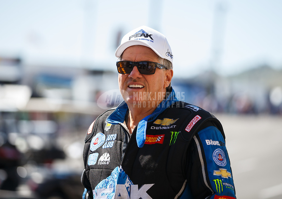 Jul 23, 2017; Morrison, CO, USA; NHRA funny car driver John Force during the Mile High Nationals at Bandimere Speedway. Mandatory Credit: Mark J. Rebilas-USA TODAY Sports